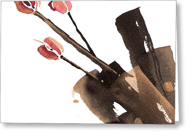 Sumi Greeting Cards - Tulips Three Greeting Card by Casey Shannon