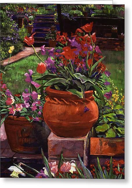 Tulips, Violas And Wallflowers Greeting Card by David Lloyd Glover