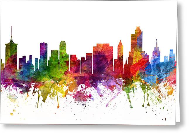 Tulsa Greeting Cards - Tulsa Cityscape 06 Greeting Card by Aged Pixel