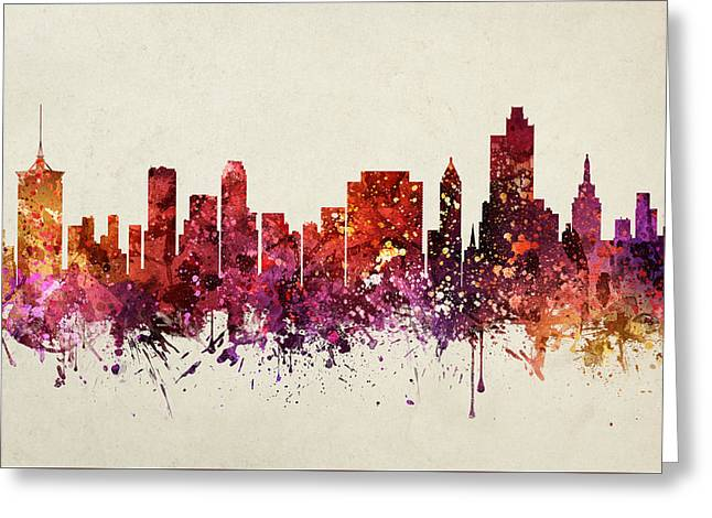 Tulsa Greeting Cards - Tulsa Cityscape 09 Greeting Card by Aged Pixel