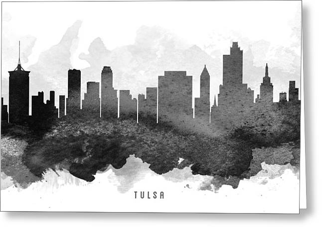 Tulsa Greeting Cards - Tulsa Cityscape 11 Greeting Card by Aged Pixel