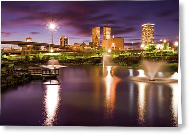 Tulsa Lights - Centennial Park View Greeting Card by Gregory Ballos