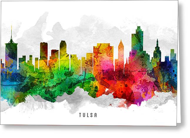 Tulsa Greeting Cards - Tulsa Oklahoma Cityscape 12 Greeting Card by Aged Pixel