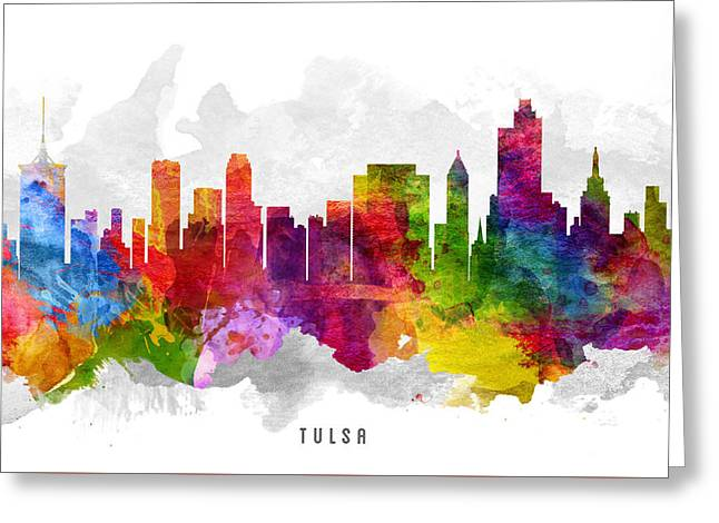 Tulsa Greeting Cards - Tulsa Oklahoma Cityscape 13 Greeting Card by Aged Pixel