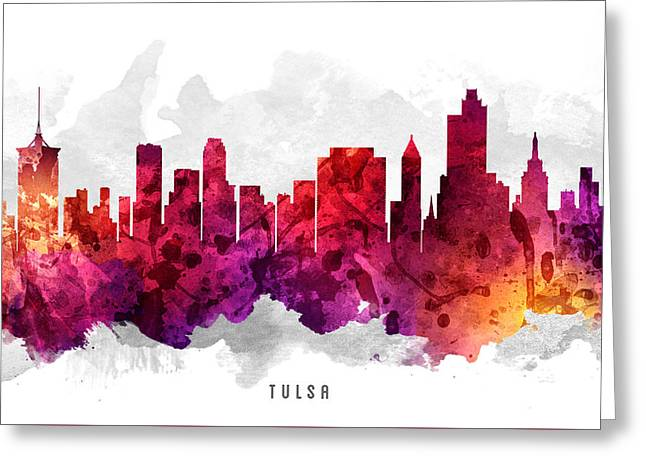 Tulsa Greeting Cards - Tulsa Oklahoma Cityscape 14 Greeting Card by Aged Pixel