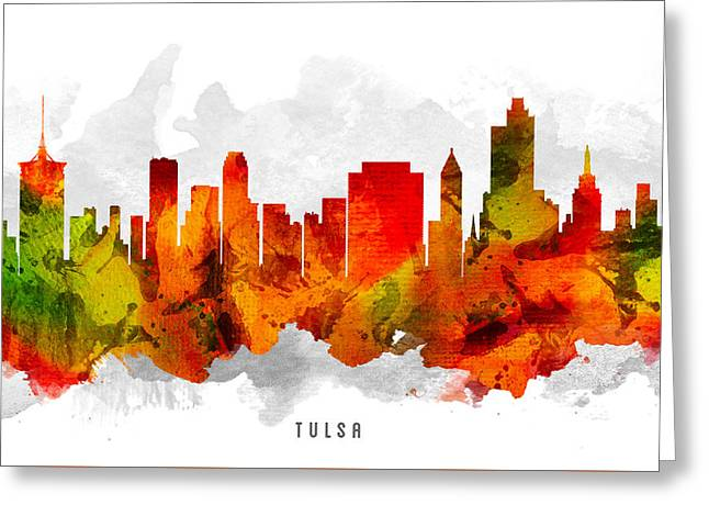 Tulsa Oklahoma Cityscape 15 Greeting Card by Aged Pixel