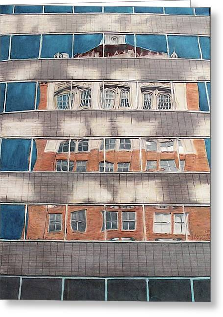 Prisma Colored Pencil Drawings Greeting Cards - Tulsa Reflections 1 Greeting Card by Kenny King