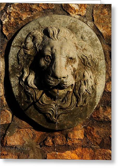 Garden Statuary Greeting Cards - Tulsa Rose Garden Lion Fountain #2 Greeting Card by Susan Vineyard