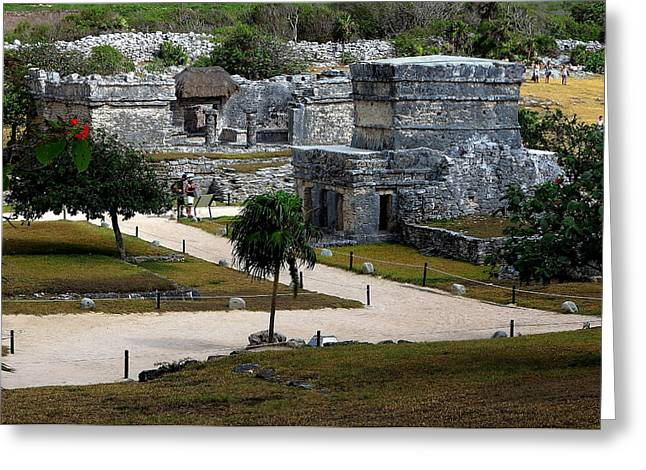 Civilization Greeting Cards - Tulum Archeological Site Greeting Card by Robert  McKinstry