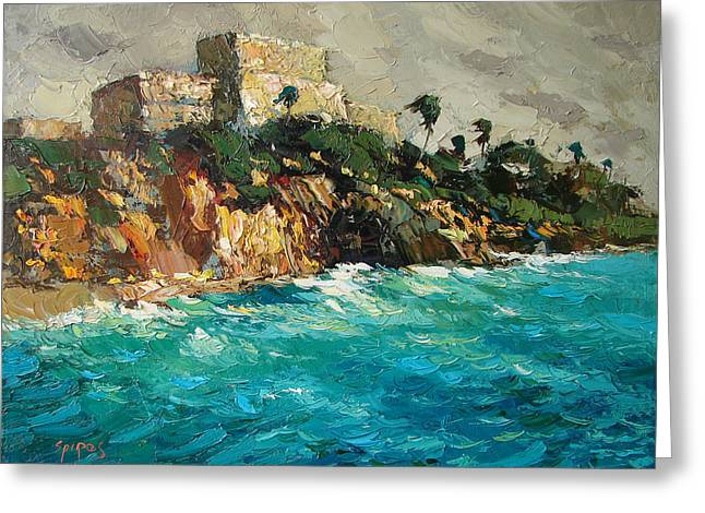 Foggy Beach Paintings Greeting Cards - Tulum. Mexico Greeting Card by Dmitry Spiros