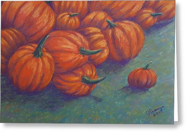 Pumpkins Pastels Greeting Cards - Tumbled Pumpkins Greeting Card by Joann Renner