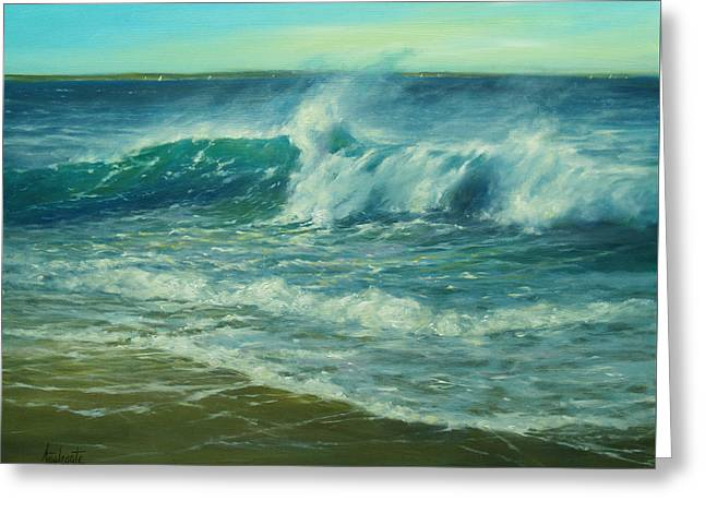 Recently Sold -  - New England Ocean Greeting Cards - Tumbling Breakers Greeting Card by Barbara Applegate