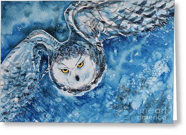 Hunting Bird Greeting Cards - Tundra Hunter Greeting Card by Zaira Dzhaubaeva