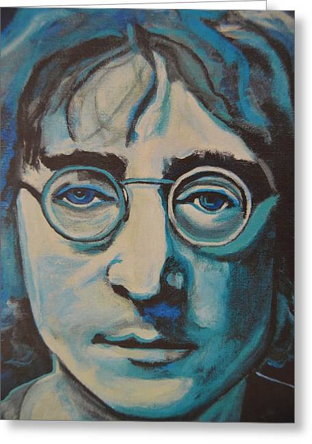 The Beatles All You Need Is Love Greeting Cards - Tungsten Lennon Greeting Card by Luci Ferguson