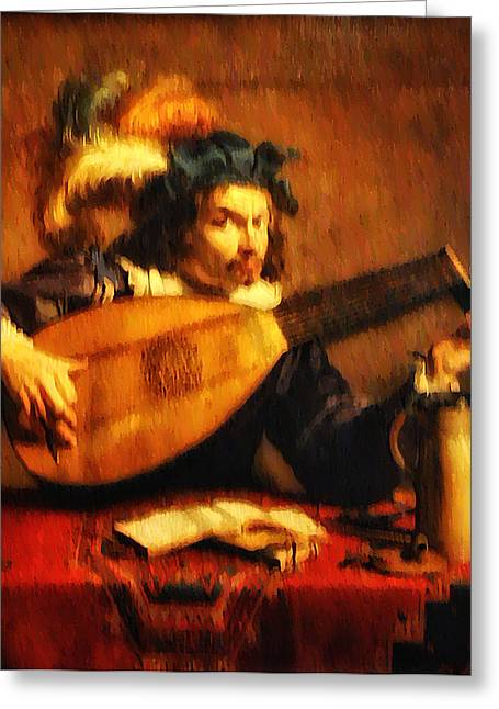 Lute Digital Greeting Cards - Tuning Up the Lute Greeting Card by Bill Cannon