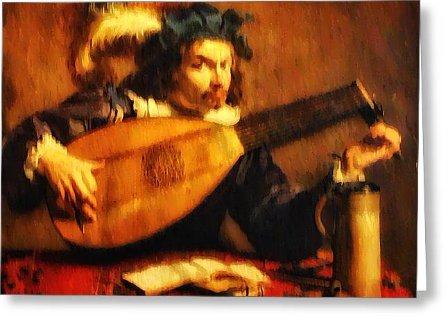 Tuning Up the Lute Greeting Card by Bill Cannon