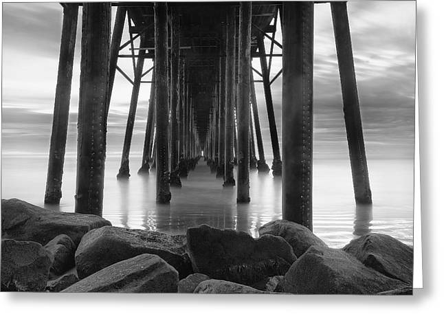 Long Exposure Greeting Cards - Tunnel of Light - Black and White Greeting Card by Larry Marshall