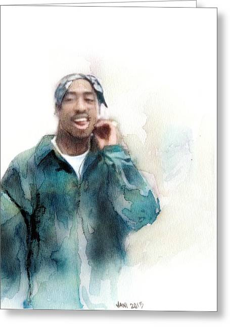 Pop Singer Pastels Greeting Cards - Tupac 19 Greeting Card by Jani Heinonen