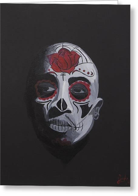 Web Of Life Paintings Greeting Cards - Tupac De Los Muertos  Greeting Card by John Bainter