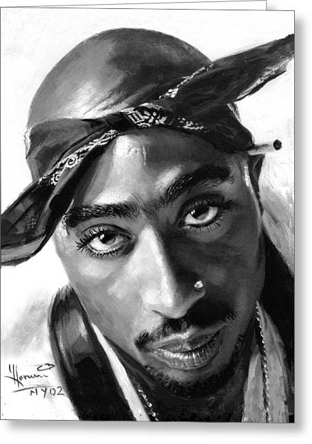 Hops Greeting Cards - Tupac Shakur Greeting Card by Ylli Haruni