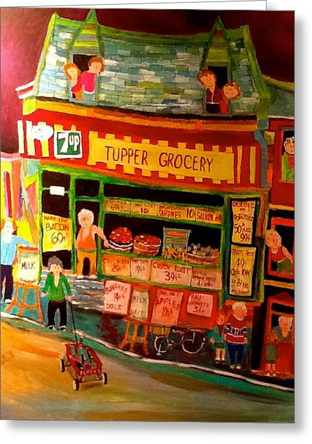 Grocery Store Greeting Cards - Tupper Market 1960s Greeting Card by Michael Litvack