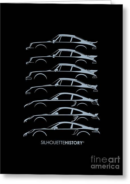 Boxer Digital Art Greeting Cards - Turbo Sports Car SilhouetteHistory Greeting Card by Gabor Vida