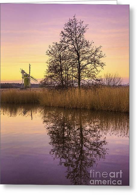 Turf Fen Mill At Sunrise Greeting Card by Svetlana Sewell