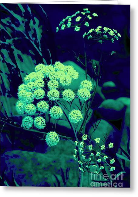 Turguoise Greeting Cards - Turguoise surreal plant Greeting Card by Tuija Karhinen