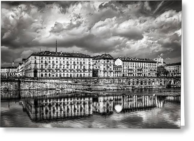 Grey Clouds Greeting Cards - Turin Shrouded in Cloud Greeting Card by Carol Japp