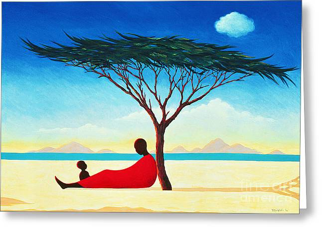 Calm Paintings Greeting Cards - Turkana Afternoon Greeting Card by Tilly Willis