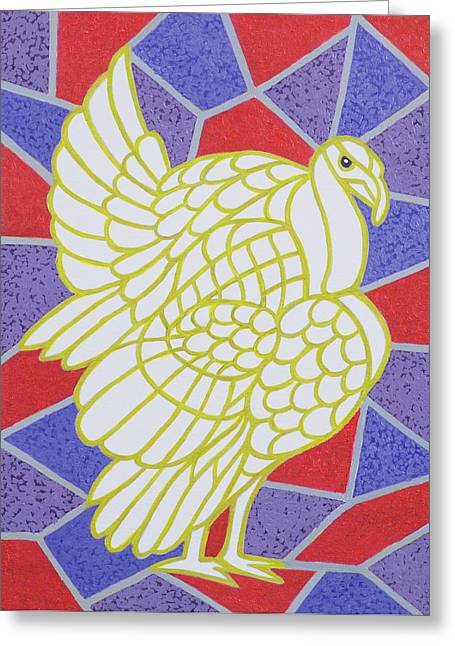 Turkey On Stained Glass Greeting Card by Pat Scott