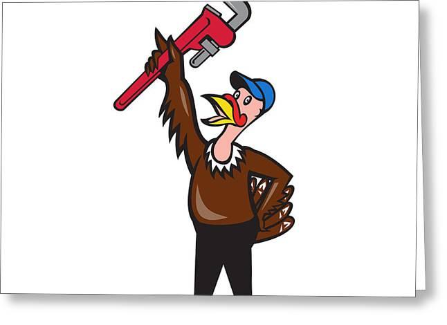 Industrial Background Greeting Cards - Turkey Plumber Raising Wrench Standing Cartoon Greeting Card by Aloysius Patrimonio