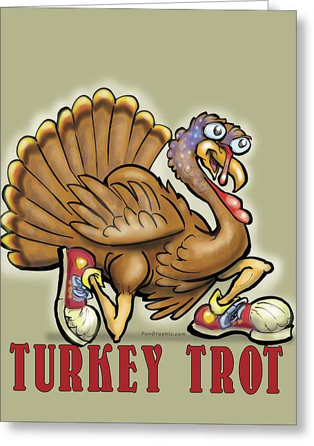 Thanksgiving Greeting Cards - Turkey Trot Greeting Card by Kevin Middleton