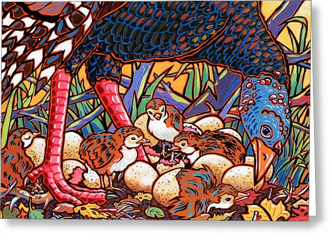Turkeys Greeting Card by Nadi Spencer