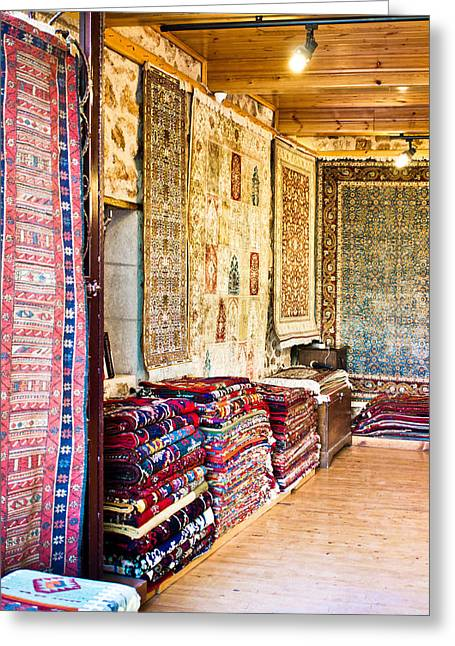 Flea Greeting Cards - Turkish carpet store Greeting Card by Tom Gowanlock