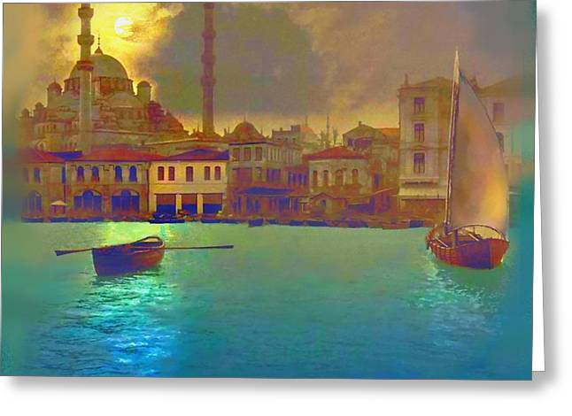 Calligraphy Print Paintings Greeting Cards - Turkish  Moonlight Greeting Card by Saiyyidah Seema  Z