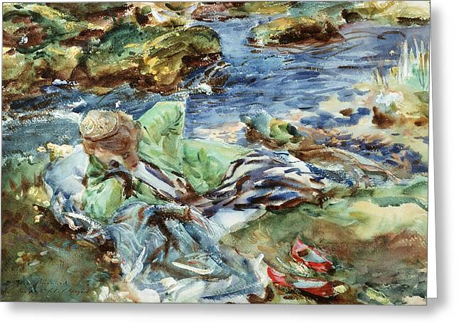Calm Waters Paintings Greeting Cards - Turkish Woman by a Stream Greeting Card by John Singer Sargent