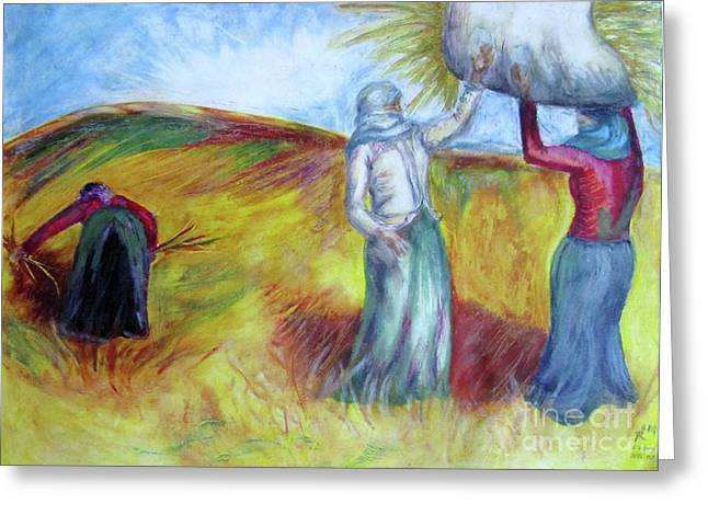 Veiled Pastels Greeting Cards - Turkish Women with Wheat Greeting Card by Yvette Rolufs