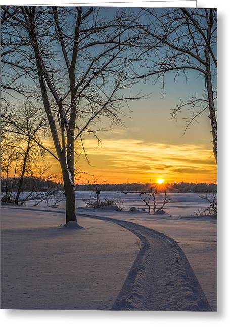 Snowmobile Greeting Cards - Turn Left At The Sunset Greeting Card by Randy Scherkenbach