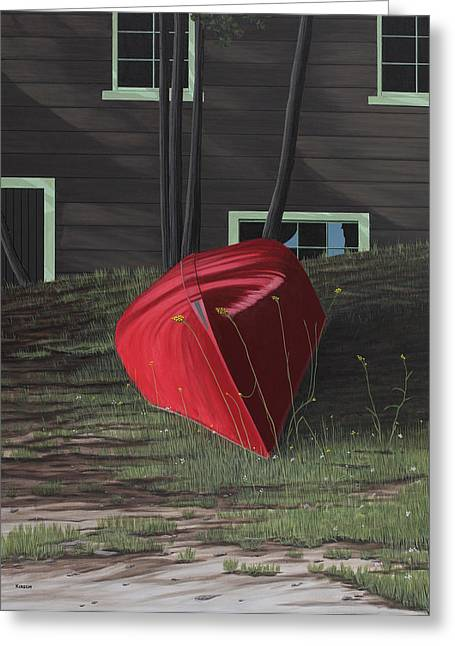 Canoe Greeting Cards - Turned Down Day Greeting Card by Kenneth M  Kirsch