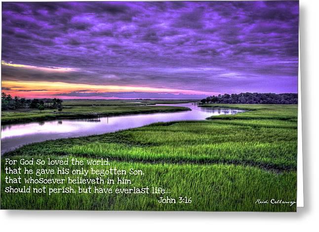 Sunset Over Turner Creek John 3 Greeting Card by Reid Callaway