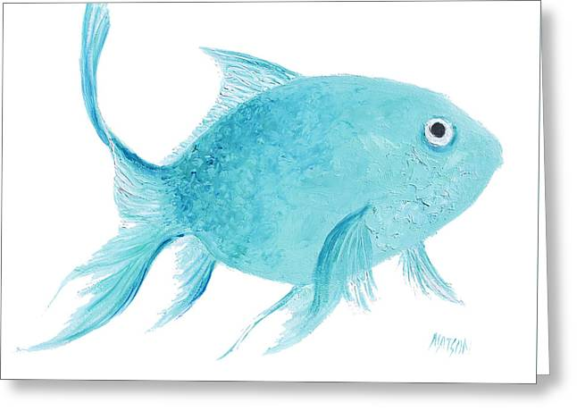 Bathroom Prints Paintings Greeting Cards - Turquois Fish on white Greeting Card by Jan Matson