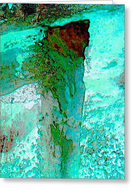 Long Street Greeting Cards - Turquoise Abstract Textured Wall 2b Greeting Card by Sue Jacobi