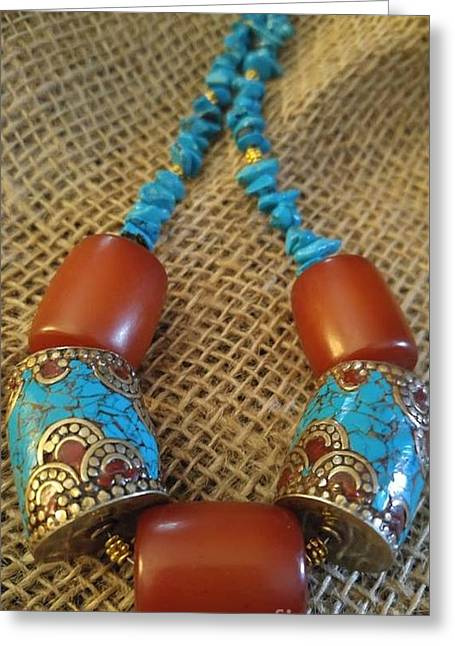 Turquoise Amber, Nepal Tibetan Beads Greeting Card by Diane Greco-Lesser