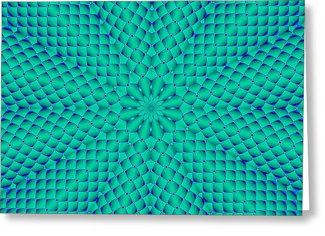 Cushion Greeting Cards - Turquoise and Blue Waves Greeting Card by Lena Kouneva
