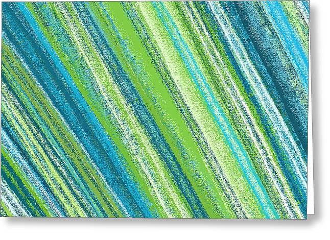 Green Abstract Greeting Cards - Turquoise and Green Art Greeting Card by Lourry Legarde