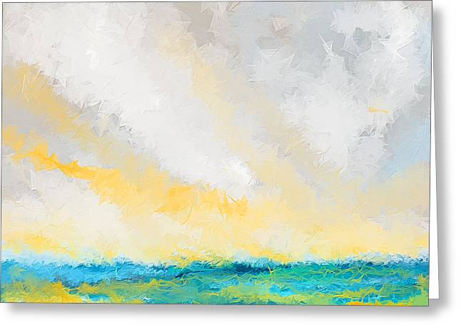 Sunset Abstract Paintings Greeting Cards - Turquoise And Yellow Art Greeting Card by Lourry Legarde
