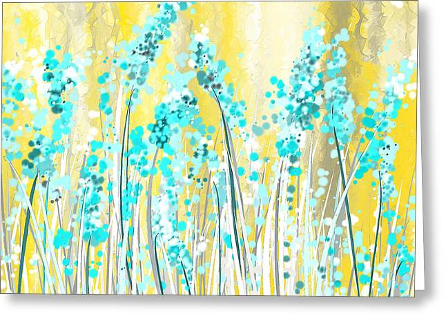 Turquoise And Yellow Greeting Card by Lourry Legarde