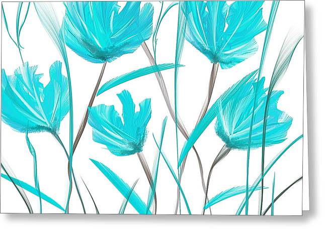 Light Blue Abstract Greeting Cards - Turquoise Bloom Greeting Card by Lourry Legarde