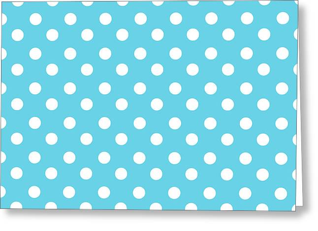 Awesome Tapestries - Textiles Greeting Cards - Turquoise Blue Polka Dots Greeting Card by Bimbys Collections